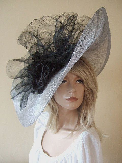 Black Silver Saucer Hatinator Headpiece . Ascot Hat Hire