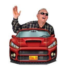 SELFIE Decor Sportwagen -  Deze had u altijd al willen hebben! Zet dit decorstuk op tafel, ga er achter staan en maak een foto. Het resultaat? Een prachtige foto waar nog lang om gelachen zal worden! Afmeting: 92 x 62cm. Leuk voor ieder feest! | www.feestartikelen.nl