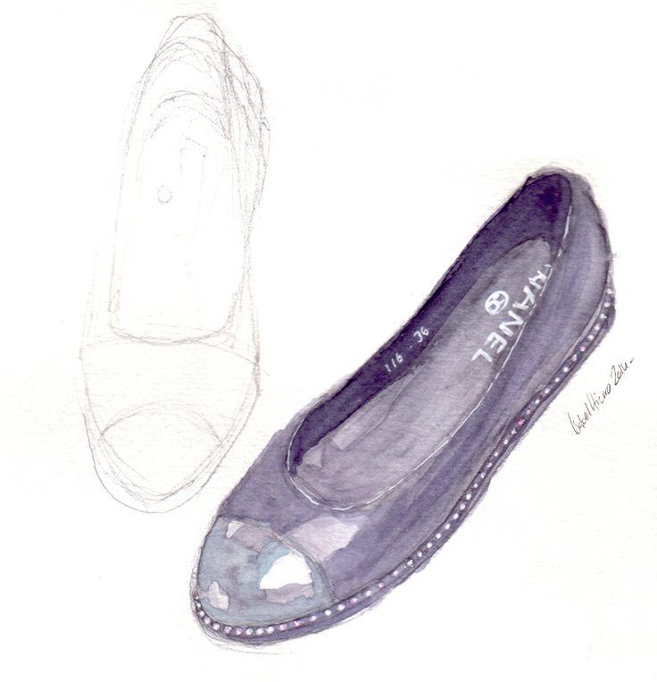 Chanel flats, watercolor, acuarela, shoes, illustration :)