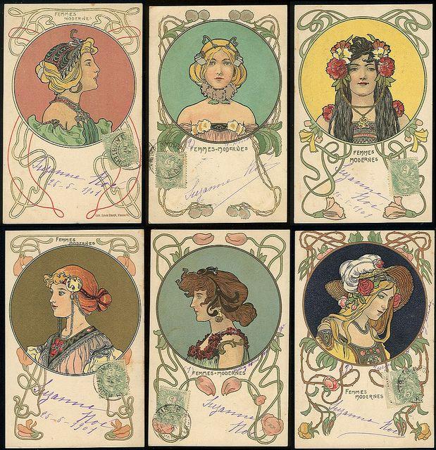 Art Nouveau (-stijl) Vrouw ~Franse kaarten, verstuurd in 1901~