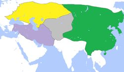 Division of the Mongol Empire in 1300. Yuan Dynasty in Green,Khanate of the Golden Horde in Yellow,Chagatai Khanate in Gray and Khanate of the Ilkhans(Ilkhanate)