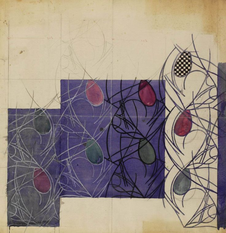 Charles Rennie Mackintosh, textile design flower bulbs, 1915-25. Pencil and watercolour on paper. © The Hunterian Museum and Art Gallery, University of Glasgow 2014