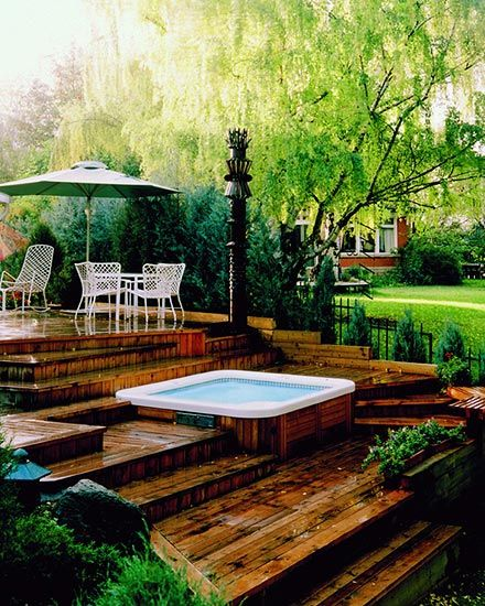 151 best hot tub images on pinterest pool ideas for Deck gets too hot