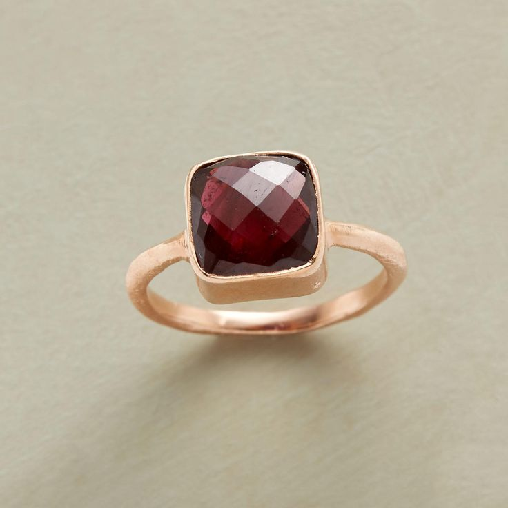 DREAMSTONE RING -- Faceting reveals the uniqueness of each garnet, resplendent with its own inner markings. Smooth square bezel and slender textured band handmade of 18kt rose gold vermeil. Exclusive. Whole sizes 6 to 8.