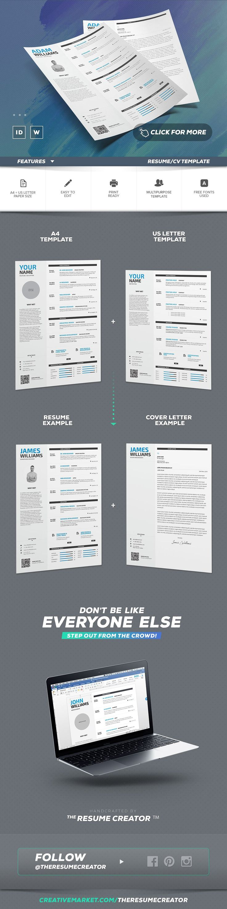 microsoft word letter of resignation%0A Resume   Cv  Word Indesign Template by TheResumeCreator on