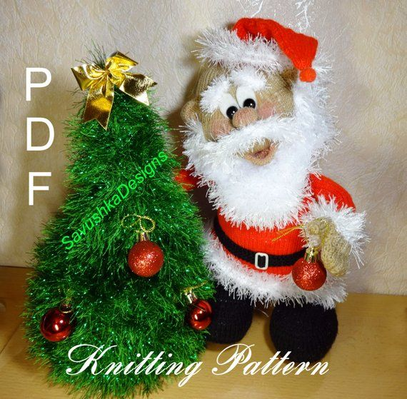 PATTERN: Santa Claus Amigurumi Pattern Christmas Toy Knitted Tree Christmas decor Holiday decor knit flat Christmas gift for her Tutorials