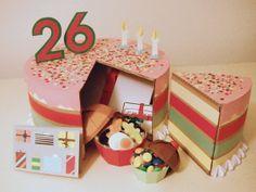 Tarta de Cartón para regalar en un súper cumple by Margherita Solinas, via Behance