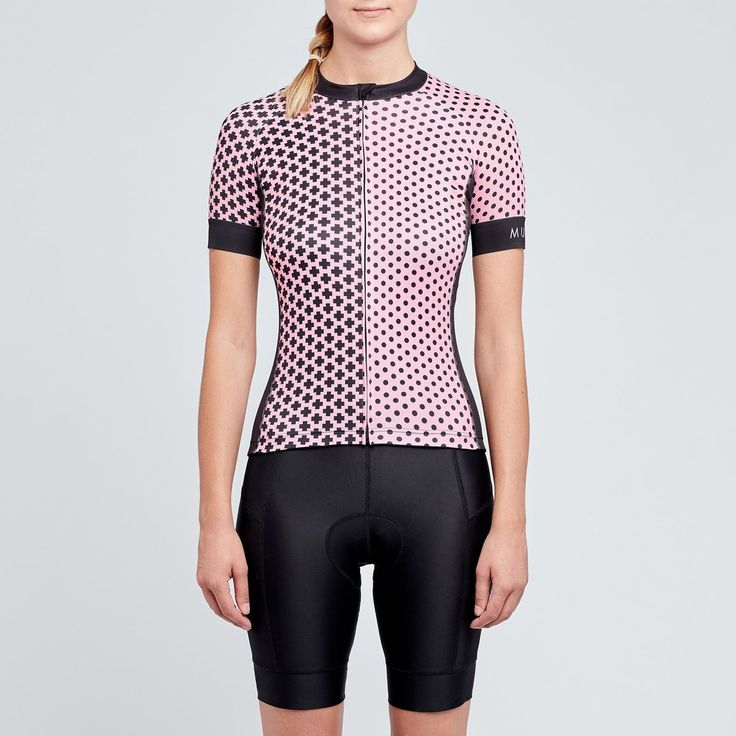 Womens pink and black cycling jersey                              … #cyclingoutfit