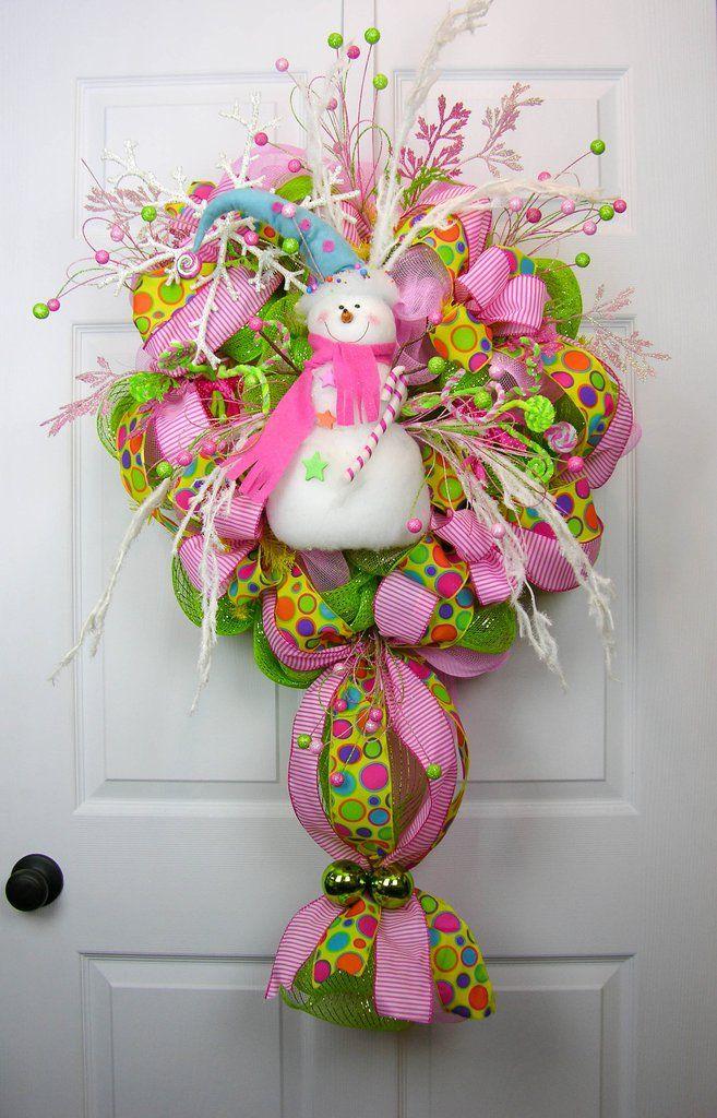 Snowman in Candyland Wreath