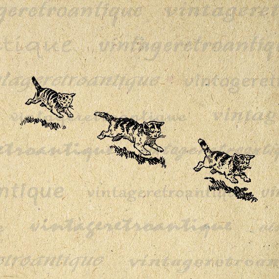 Printable Digital Three Kittens Image Cute by VintageRetroAntique