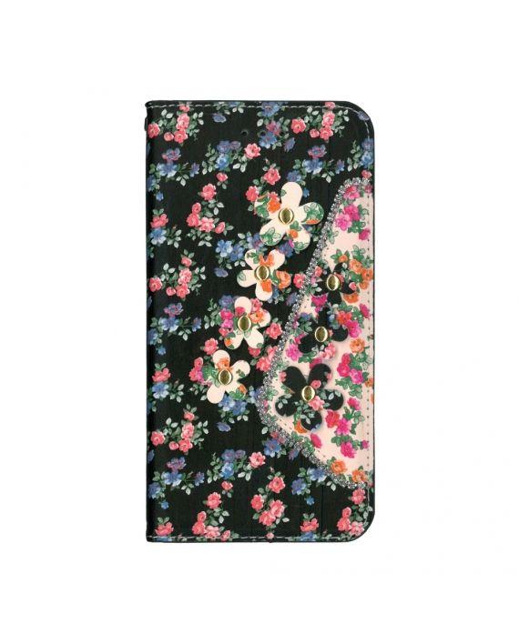 Husa flip wallet pentru Galaxy S7 Edge - EuroCELL Flowers&Stones