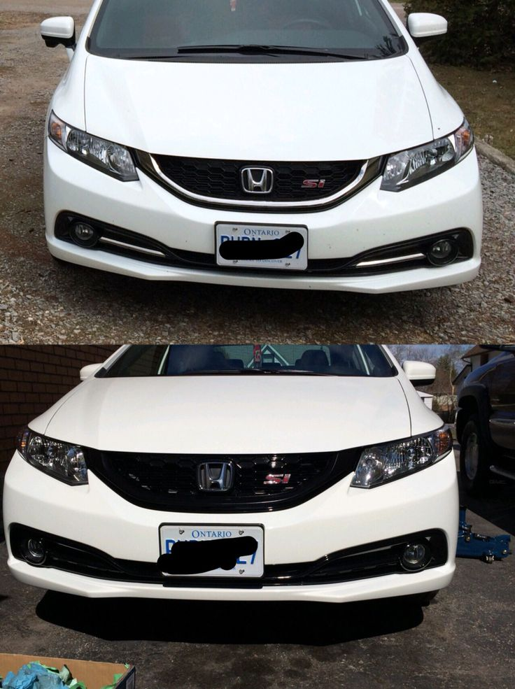 What The Front End Looks Like After The Painting Of The Chrome Before And After Shot 2015 Honda Civic Si Vtec Dohc Clean Mint Byebyech Vtec Honda Bmw