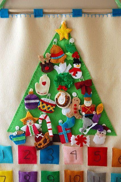 Cute idea for advent calendar! Felt ornaments for the felt Christmas tree