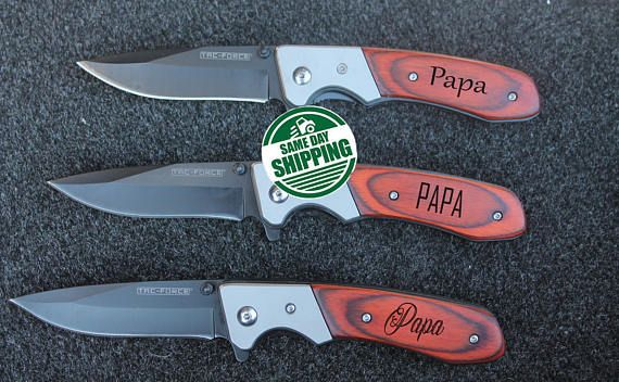 dad pocket knife, dad christmas gift, gifts for dad, personalized knife, engraved knife, folding knife, hunting knife, groomsmen, dad gifts  Perfect gift engraved for dad. If you like to engrave a name instead of the word - PAPA, please specify it in order notes.  This makes a perfect