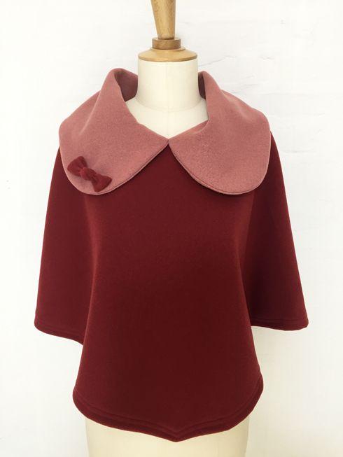 cape femme col croisé noeud laine cachemire liberty mode vintage carreaux hiver couture création british frmaboise vieux rose