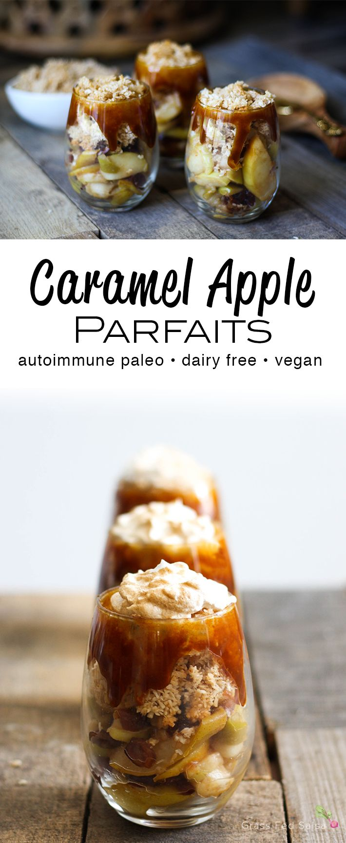 These Salted Caramel Apple Prafaits are the warm and comforting fall treat  you've been waiting for. These Autoimmune Paleo (AIP) friendly Salted  Caramel Apple Parfaits are just what you're looking for. These parfaits are  nut free, gluten free, and dairy free, and full of fall flavor. Store in a  mason jar for a pre-portioned, easy to store treat.  I have a serious love for parfaits. It wasn't long ago that I was sharing  the recipe for my summery AIP Key Lime Pie Parfaits, and yet, here I…