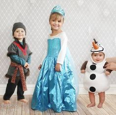 Free Olaf, Elsa and Kristoff, Frozen inspired Halloween costume sewing patterns