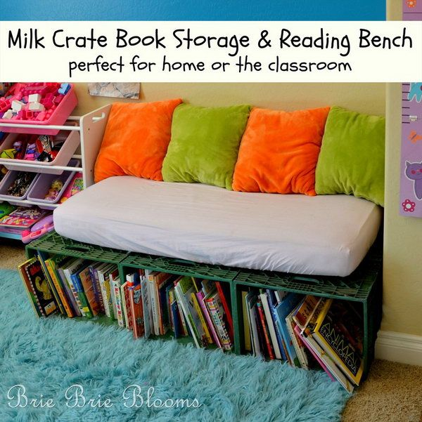 The milk crate book storage and reading bench encourages kids to sit down with books during the day and is also a perfect place for reading a bedtime story each night. http://hative.com/diy-ideas-with-milk-crates-or-wooden-crates/