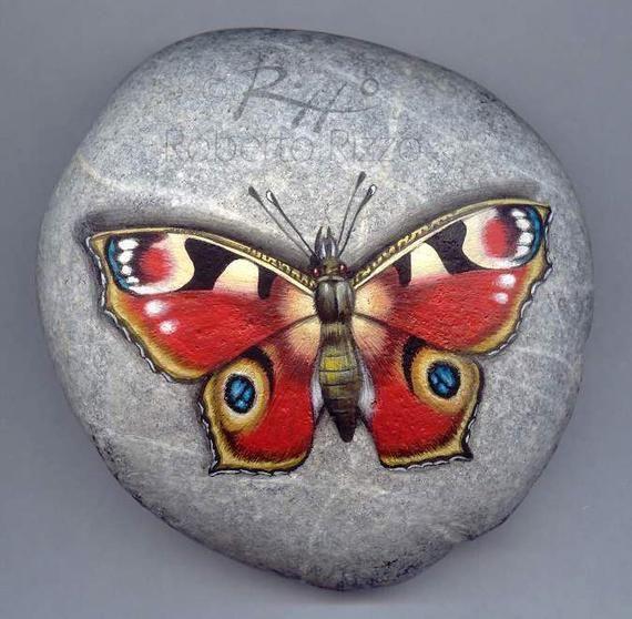 Geschilderd Rock met een dagvlinder Peacock | Originele rode vlinder rustend op een rots handbeschilderd door Roberto Rizzo | Rock Art schilderen
