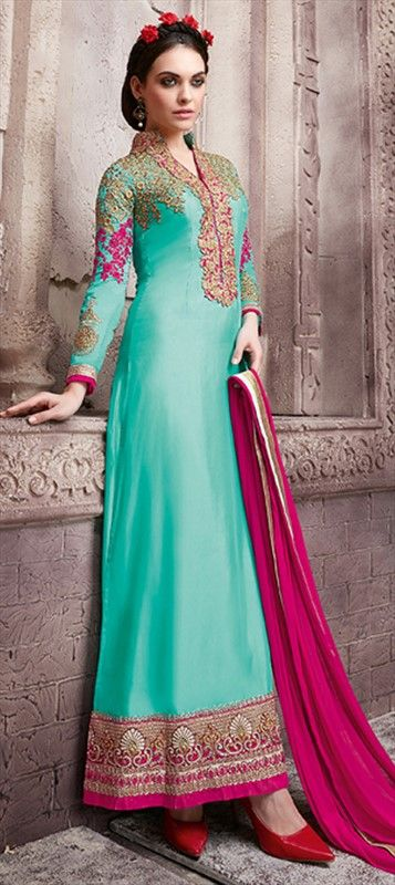Monsoon Blue with vibrant Magenta Colour Designer Salwar Kameez by IWS 458533 Blue color family Party Wear Salwar Kameez in Faux Georgette fabric with Lace,Machine Embroidery,Resham,Thread,Zari work .
