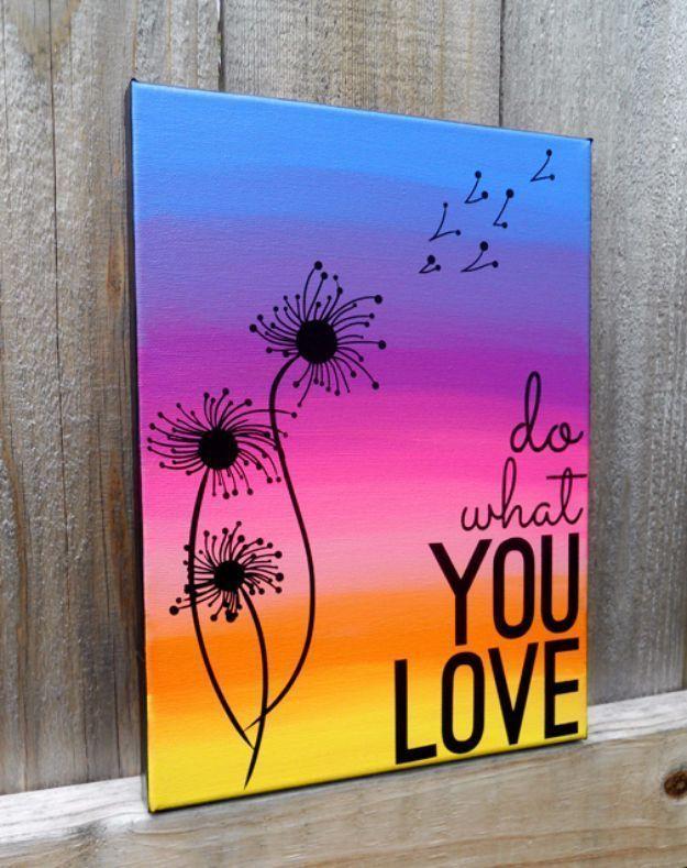 25 + › DIY Leinwand Malerei Ideen – zitieren Sie Leinwandbilder – coole und einfache Wandkunst Ideen Sie … #crafts #easy # Ideen