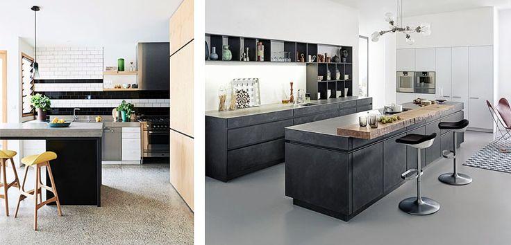 Cemento pulido en el diseño de la cocina
