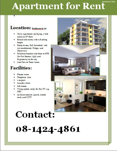 Apartment For Rent In Hanoi Cheap 1 Bedroom Apartment: Apartment Flyer Template
