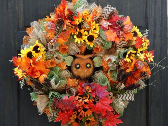 Fall Deco Mesh Wreath, Owl Wreath, Thanksgiving Wreath, Fall Wreath for Front Door, Wreath for Fall, Sunflower Wreath, Autumn Deco Wreath