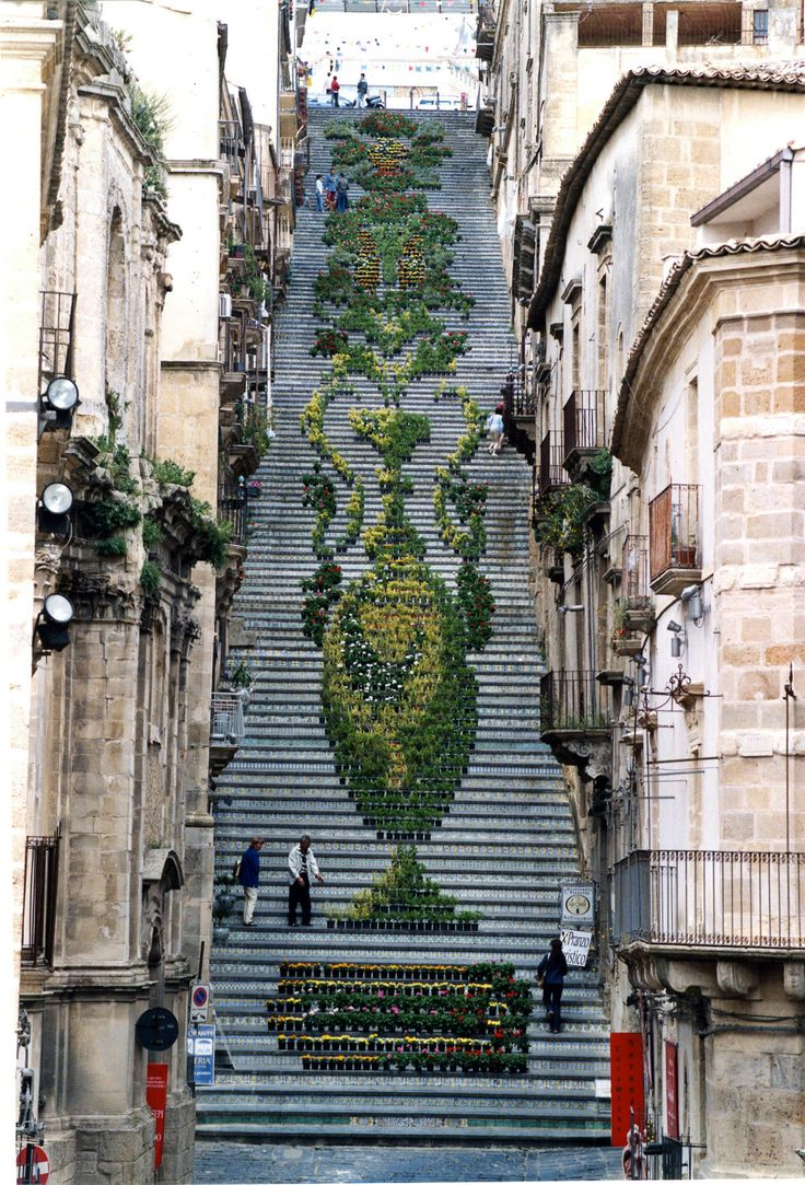 Potted plants arranged to create design on the stairs during La Scala Infiorata, in Italy.