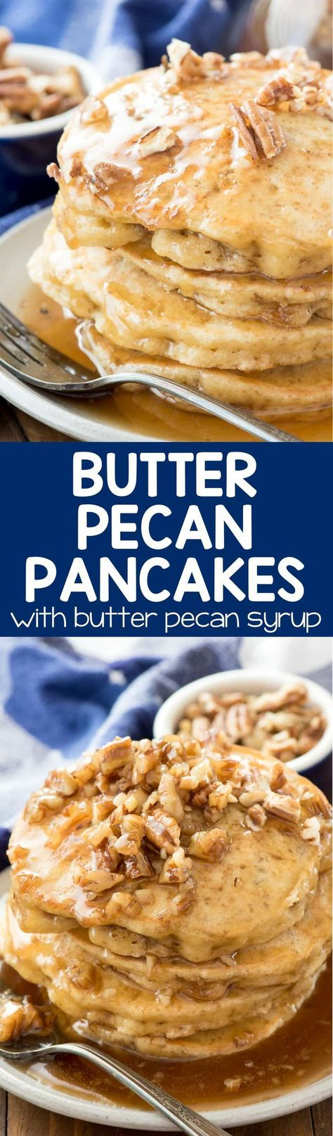 Butter Pecan Pancakes - this easy recipe is the BEST PANCAKE RECIPE EVER. The flavor tastes just like butter pecan ice cream, especially with the butter pecan syrup!