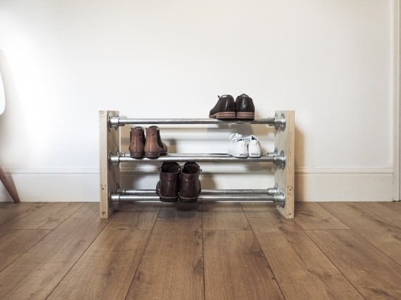 Galvanised Steel and Reclaimed Scaffold Wood Shoe Rack