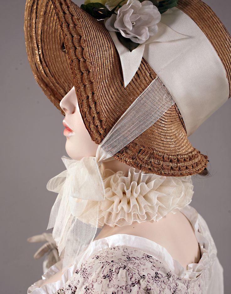 Chapeau a la Pamela. France, circa 1810. Natalie Ferguson's notes: narrowness of straw braid, height of crown, how hat sits on the head; straw trim at brim, width of hat ribbon trims.
