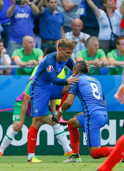 #EURO2016 Antoine Griezmann of France celebrates after scoring a goal during the UEFA Euro 2016 Round of 16 football match between France and Ireland at the...