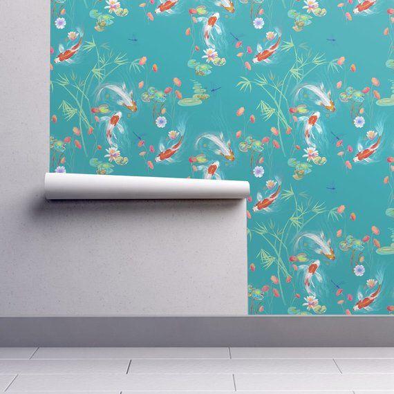 Japanese Wallpaper Japanese Water Garden Teal Designed By Etsy Japanese Water Gardens Japanese Water Wallpaper Roll