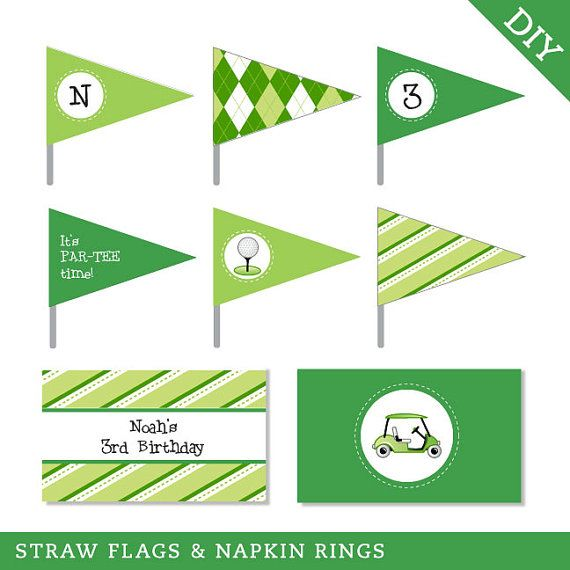Golf party - Personalized DIY printable straw flags and napkin rings by Chickabug, LLC | Catch My Party