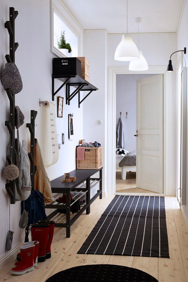 Make the most of your hellos and goodbyes with IKEA hallway storage. Pick a sturdy bench to make getting shoes on and off easier, and pair it with a hat or coat rack for easy access to your outerwear. Click for IKEA hallway organization inspiration: