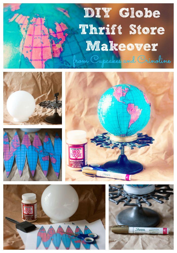 DIY globe made from a Thrift Store light globe with full tutorial|cupcakesandcrinoline.com