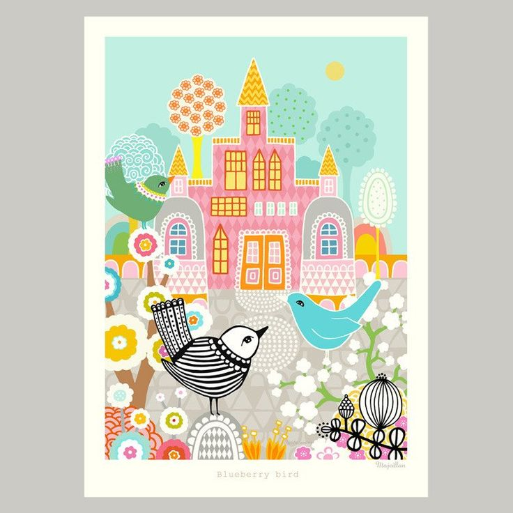 Majvillan ~ Blueberry Bird poster 50x70 cm - SovrumsShoppen.se