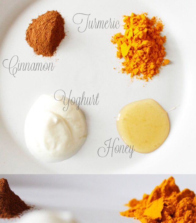 Turmeric face mask! Is amazing eastern secret! It may help prevent or treat: Acne, Blemishes, dark circles, wrinkles as well as reconditioning your skin!  Ingredients: •1/2 cup yogurt •1 1/2 Tbsp organic honey •2 Tbsp turmeric •1 1/2 cinnamon.  Mix it all up, apply, wait 20mins and hello beautiful smooth skin!