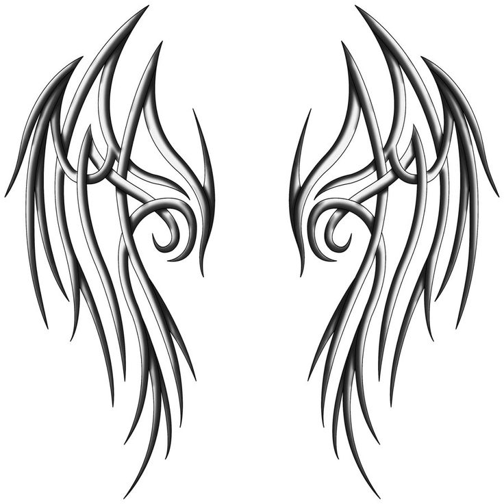 tribal angel wings - if the white-grey-black details can be given properly