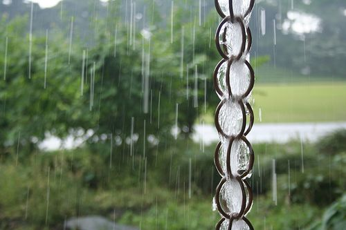 Make a rain chain using metall shower curtain rings.  So easy.  So inexpensive.  Why didn't I think of that!