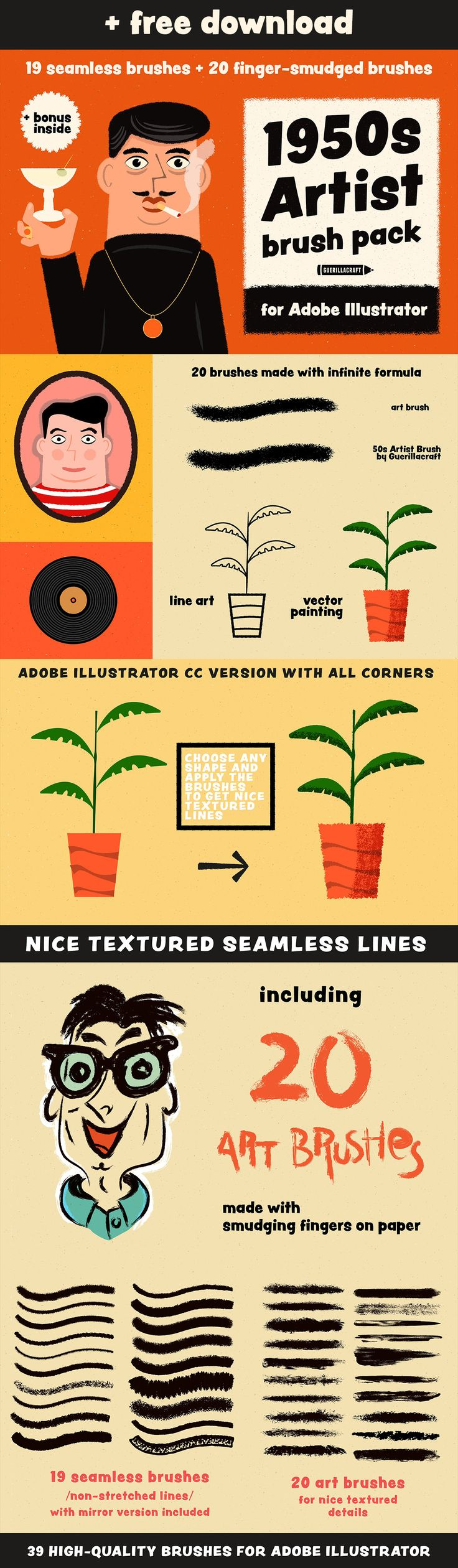 1950s Artist Brushes for Illustrator + FREE SAMPLES on Behance | Download Free Adobe Illustrator Brushes on my Behance. They are seamless, great for textured vector illustrations. Try for free!