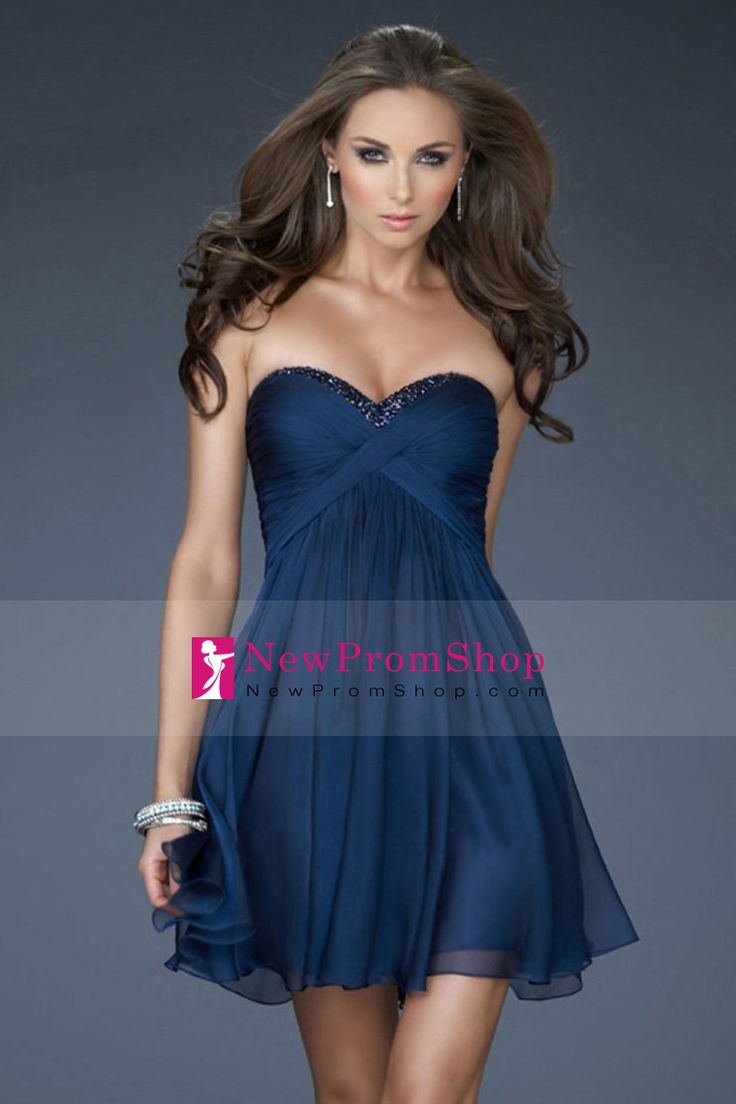 Dark Navy Homecoming Dresses A-Line Sweetheart Short/Mini Chiffon Sleeveless