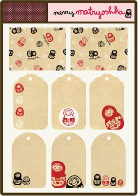 matryoshkas by babalisme, via Flickr: Printable Matryoshka, Crafts Ideas, Free Printable Tags, Matryoshka Kits, Free Prints, Bookmarks Ideas, Christmas Tag, Gifts Tags, Matryoshka Tags