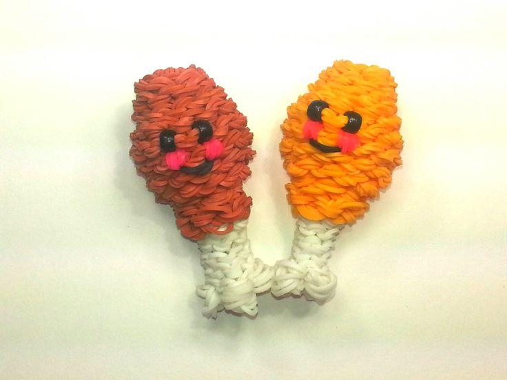 awesome 3-D Happy Chicken Leg Tutorial by feelinspiffy (Rainbow Loom)