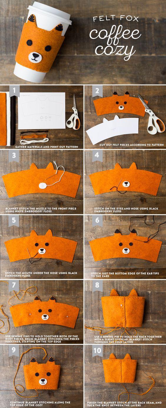 Felt fox coffee cozy tutorial