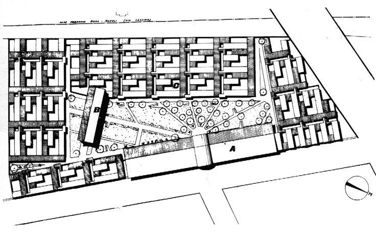 Adalberto Libera, Unità di abitazione orizzontale al Tuscolano, Roma, 1950/54