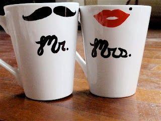 Craft Sew Love Grow: Mr. & Mrs. coffee mugs-would be a cute diy wedding gift. use plain white mugs, sharpies, and bake them!