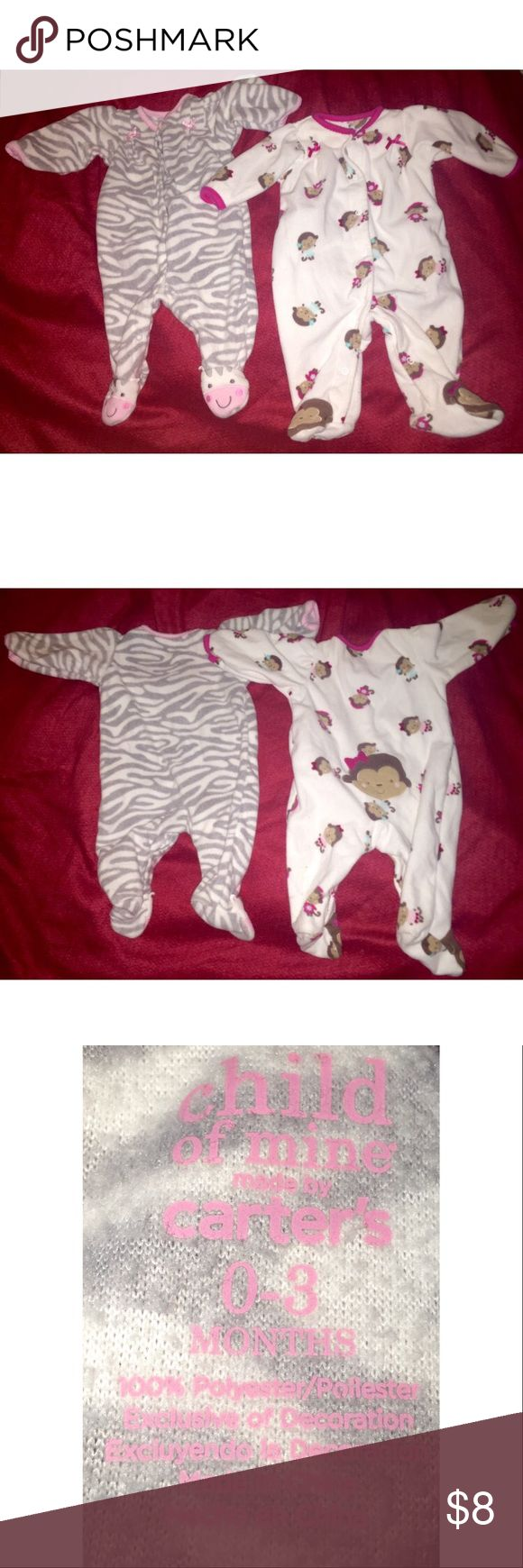 A bundle of two Carter's onesie footed pajamas A bundle of two Carter's onesie footed pajamas, (both are A Child of Mine by Carter's, size: 0-3months, and 100% polyester. Pair #1 features a soft grey zebra print with pink trim. Pair #2 features a white backdrop with little brown monkeys wearing teal and fuchsia outfits. Both in rather good condition and soft to the touch. Carter's One Pieces Footies