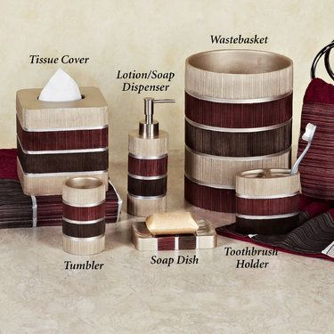 Modern Line Burgundy Striped Bath Accessories                                                                                                                                                                                 More